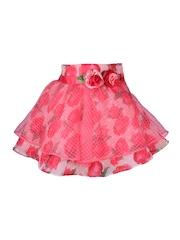 CUTECUMBER Girls Pink Floral Print Layered Skirt