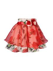 CUTECUMBER Girls Red & Off-White Floral Print Layered Skirt