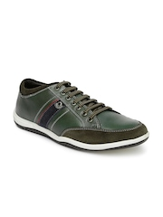 Lee Cooper Men Green Leather Casual Shoes