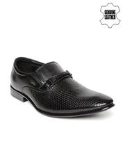 Lee Cooper Men Black Genuine Leather Textured Semiformal Shoes