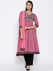 Rain & Rainbow Pink & Black Printed Anarkali Kurta with Palazzo Trousers & Dupatta