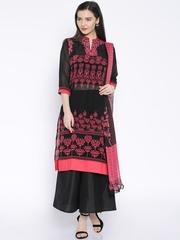 Trishaa by Pantaloons Black & Pink Printed Kurta with Palazzo Trousers and Dupatta