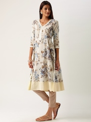 All About You from Deepika Padukone Off-White Floral Print Crepe Anarkali Kurta