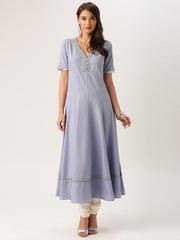 All About You from Deepika Padukone Women Dusty Blue Solid Anarkali Kurta