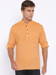 Svanik Orange Self-Striped Short Kurta