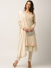 All About You from Deepika Padukone Beige Embroidered Churidar Kurta with Dupatta