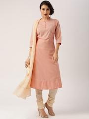 All About You from Deepika Padukone Cotton Peach Anarkali Churidar Kurta and Dupatta