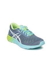 ASICS Women Grey & Green FuzeX LYTE Running Shoes