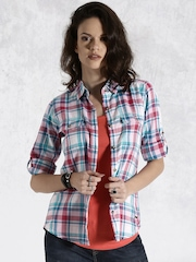 Roadster Red & Blue Checked Casual Shirt