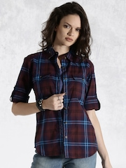 Roadster Maroon & Blue Checked Casual Shirt