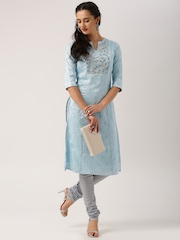 All About You from Deepika Padukone Jacquard Dusty Blue Embroidered Kurta