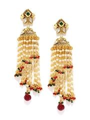 Sukkhi Gold-Plated & White Jhumka Earrings