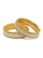 Sukkhi Set of 2 Gold-Plated & White Bracelets