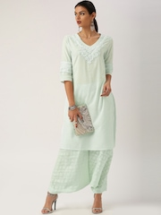 All About You from Deepika Padukone Cotton Mint Green Kurta with Embroidery