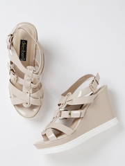 DressBerry Women Beige Glossy Strappy Wedges