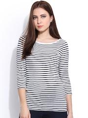 Hook & Eye Off-White & Navy Striped Top