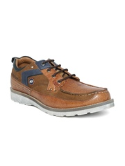 ID Men Brown Leather Casual Shoes