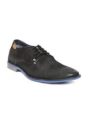 ID Men Black Perforated Leather Casual Shoes