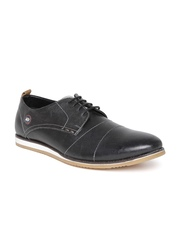 ID Men Black Leather Casual Shoes