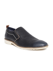 ID Men Navy Textured Leather Slip-Ons
