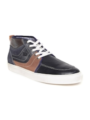 ID Men Navy Genuine Leather Sneakers