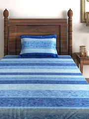 SWAYAM Ananda Blue 180 TC Single Bedsheet with 1 Pillow Cover