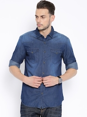 Highlander Navy Denim Slim Fit Casual Shirt