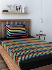 SWAYAM Multicoloured 180 TC Cotton Single Bedsheet with 1 Pillow Cover