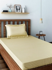 SWAYAM Cream-Coloured 400 TC Cotton Single Bedsheet with 1 Pillow Cover