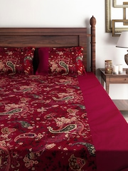 SWAYAM Wine-Coloured 180 TC Cotton Double Bedsheet with 2 Pillow Covers