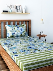 SWAYAM Veda Blue Cotton Single Bedsheet with 1 Pillow Cover
