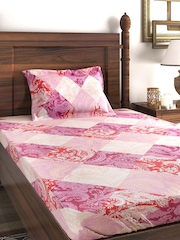 SWAYAM Veda Multicoloured Cotton Single Bedsheet with 1 Pillow Cover