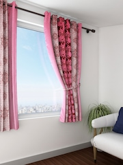 Swayam Sigma Pink and Brown Single Ethnic Print Blackout Window Curtain