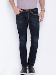 Locomotive Navy Washed Super Slim Fit Jeans