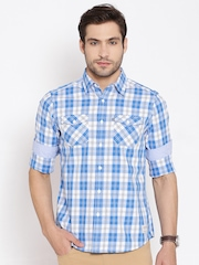 Amercian Swan Blue Checked Smart Fit Casual Shirt