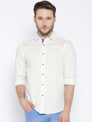 American Swan Off-White Printed Smart Fit Casual Shirt