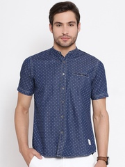 American Swan Navy Dot Print Denim Shirt