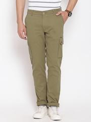 American Swan Olive Green Slim Cargo Trousers