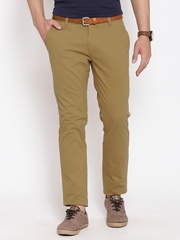 American Swan Olive Brown Slim Casual Trousers