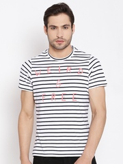 American Swan White & Black Printed Striped T-shirt