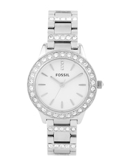 Fossil Women White Stone-Studded Dial Watch ES2362I