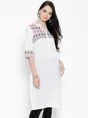 Aurelia Off-White Woven Design Kurta