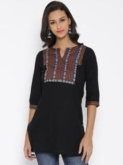 Aurelia Black Woven Design Kurta