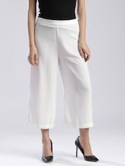 W White Polyester Palazzo Trousers