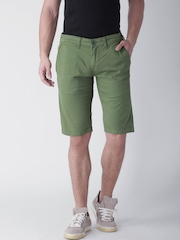 "Moda Rapido Olive Green Shorts- Stretch fabric- Mobile (upto 6.2"") Phone Pocket"