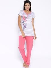July Nightwear Purple & Pink Printed Lounge Set A224