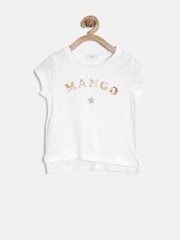 MANGO Kids Girls White Printed T-shirt