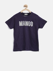 MANGO Kids Boys Navy Printed T-shirt