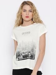 MANGO Off-White Printed T-shirt