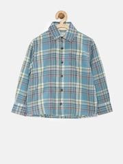 MANGO Kids Boys Blue Checked Shirt